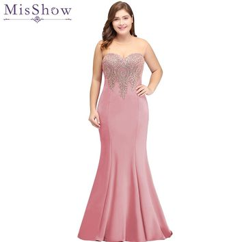 2018 Dusty Pink Long Mermaid Evening Dress Plus Size Gold Appliques Bodice Women Party Formal Gown Illusion Back Evening Dresses