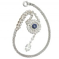 3.69 ct Diamond and 0.65 ct Sapphire, 10 ct Yellow Gold and Silver Set Necklace - Antique Circa 1900