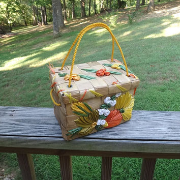 1960s Vintage Wicker or Straw Purse from Jamaica, Colorful Straw Flowers, Yellow Rope Handles, Woven Straw Purse, Vintage Purses, Handbags