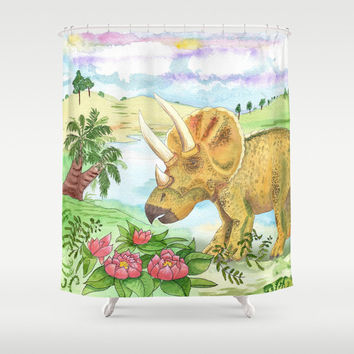 "Triceratops Shower Curtain - Dinosaur, ""Sarah"" landscape, watercolor, cretaceous, jurassic colorful decor bathroom, zoo,"