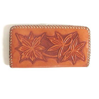 Vintage brown tooled leather floral long wallet // coin purse
