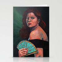 Lady with Fan Stationery Cards by Eileen Paulino