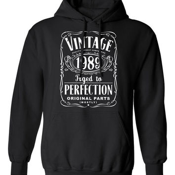25th Birthday Gift For Men and Women - Vintage 1989 Aged To Perfection Mostly Original Parts Hoodie Hooded Sweatshirt Gift idea S-22h