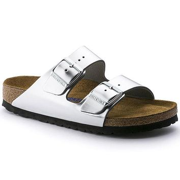 Birkenstock Arizona Soft Footbed Leather Metallic Silver 0752711/0752713 Sandals