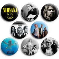Nirvana Pinback Buttons Badge 1.25 inch (Set of 8) NEW