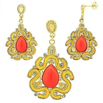 Gold Layered Earring and Pendant Adult Set, Teardrop Design, with Opal and Crystal, Gold Tone