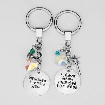 Wicked Musical Best Friends Keychains Because I Knew You I have been Changed for Good Elphaba Glinda Keyrings Wicked Pair