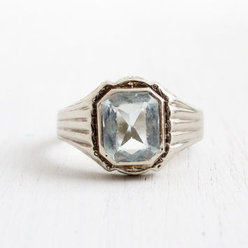 Antique 10k White Gold Aquamarine Men's Ring - Vintage Size 10 1920s Art Deco Blue Gemstone Fine Jewelry