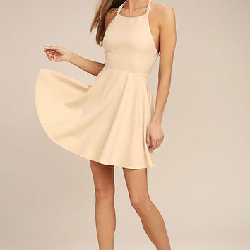 Adore You Beige Pearl Skater Dress