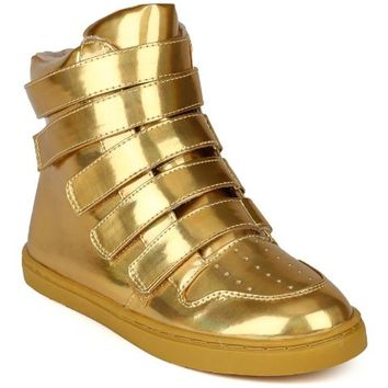 Qupid AG54-Trivia-74B Women Hologram Leatherette Multi Strap Velcro High Top Sneaker - Gold