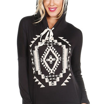 Black Long Sleeve Aztec Print Pull Over *MADE IN USA*