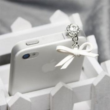 White Leather Bow Charm Dust Plug / Earphone Jack Accessory / Ear Cap / Ear Jack for Iphone / Ipad / Ipod Touch / All Device with 3.5mm Jack