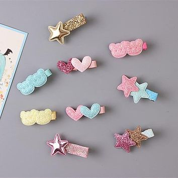 1pcs Cute Baby Girls Glitter Kids Gifts Party Hair Clips Star Princess Barrette Hair Accessories Child Hairpin Toddler Snap Clip