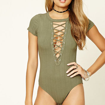 Crisscross Ribbed Bodysuit