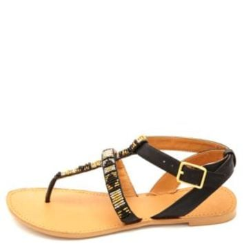 Qupid Beaded Gladiator Thong Sandals by Charlotte Russe - Black