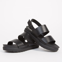 Banded Leather Flatform Sandals