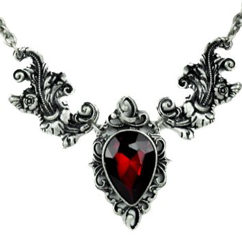 Gothic Ivy with Red Stone Necklace Victorian Style Alternative Gothic Jewelry