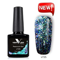 Venalisa  7.5ml glitter sequins platinum peacock nail gel polish