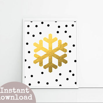 Christmas printable gold snowflake instant download, black polka dots, Christmas wall decor, Christmas print foil art digital print.