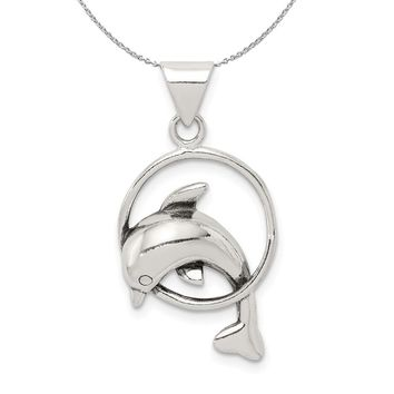 Sterling Silver Antiqued Dolphin and Hoop Necklace