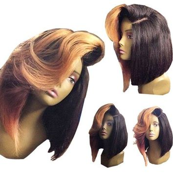 Medium Colormix Deep Side Parting Straight Bob Synthetic Wig