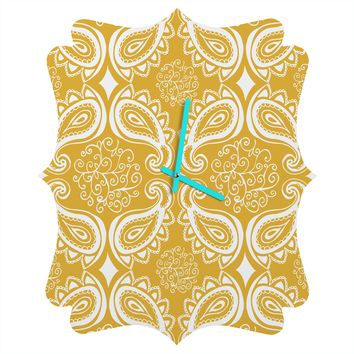 Heather Dutton Plush Paisley Goldenrod Quatrefoil Clock