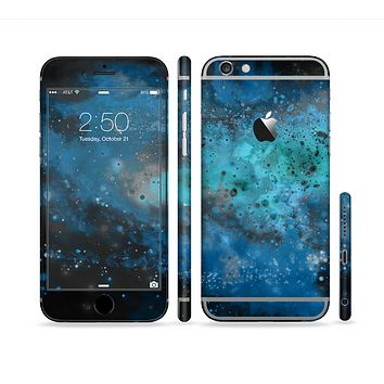 The Blue and Teal Painted Universe Sectioned Skin Series for the Apple iPhone 6s Plus