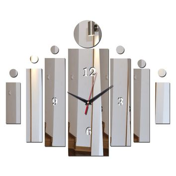 new arrivel wall sticker clocks home decora acrylic mirror surface modern style square furniture stickers art  free shipping
