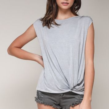 Women's Front Knot Tee with Shirred Shoulders