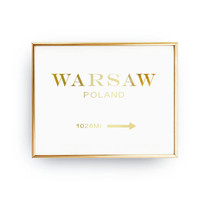 Warsaw Poland 1026 MI, Inspirational Poster, Warsaw Print, Bedroom Decor, Real Gold Foil Print, Girls Inspired Poster, Poland Print Art