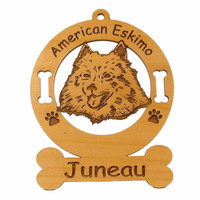 1231 American Eskimo Head Ornament Personalized with Your Dog's Name
