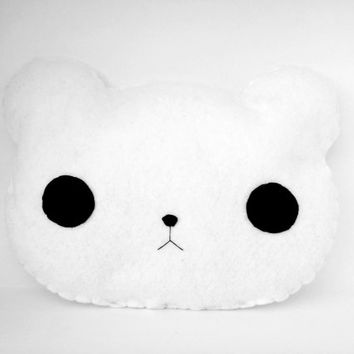 Cute Handsewn White Polar Bear Pillow, Kawaii Felt Stuffed Animal Pillow, Plush Polar Bear