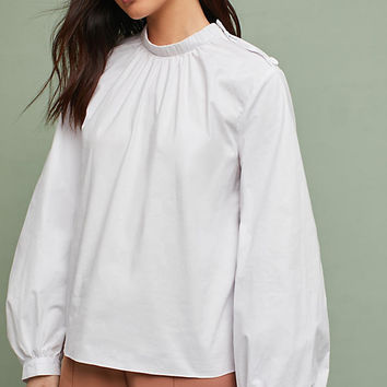Mock Neck Poplin Blouse