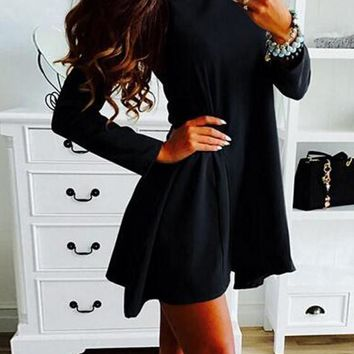 Black Irregular Ruffle Peter Pan Collar Long Sleeve Mini Dress