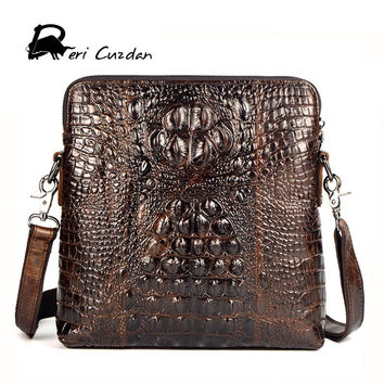 DERI CUZDAN Luxury Men Bag Genuine Leather Crocodile Pattern Small Bags Business Messenger Bag Designer Crossbody Shoulder Bag
