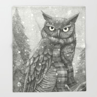 Winter Owl Throw Blanket by igo2cairo