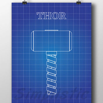 Superhero Thor hammer blueprint wall art 13x19 by SimplisticPrints