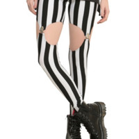Black And White Striped Garter Leggings