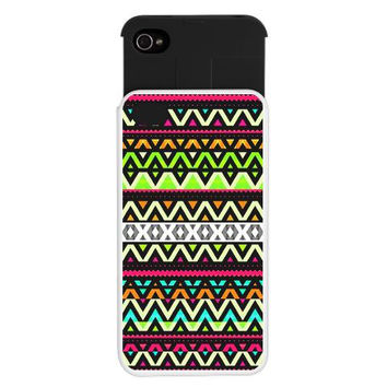 Tribal iPhone 4/4S Wallet Case - Neon Mix - Ornaart Design