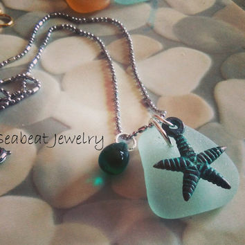 Sea glass Necklace, Starfish Pendant, Beach Pendant, Seaglass Jewelry,Seafoam Glass Pendant, Teal Charm Necklace, Copper Patina Pendant
