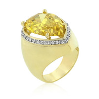 Yellow Pear Cubic Zirconia Cocktail Ring, size : 05