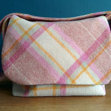 Pink, Wool, across the body messenger Bag.