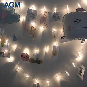 AGM LED Garland Fairy String Lights Photo Clip Battery Luminaria New Year Christmas Decoration Light For Home Decorative Decor