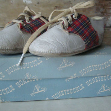 Vintage Baby Shoes Plaid an Leather With Box Adorable