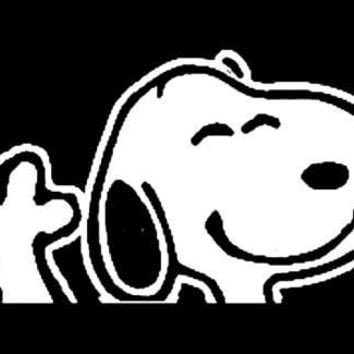Peanuts Snoopy Waving Vinyl Car Decal