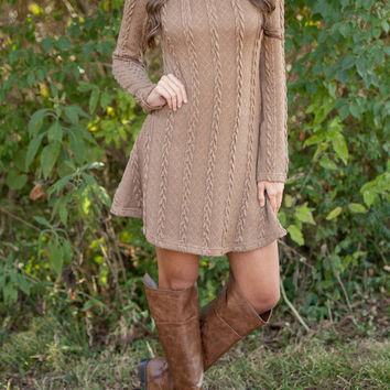 Long-Sleeved Knit Sweater Dress in Light Tan or Cream