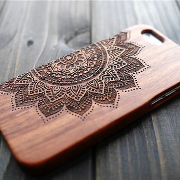 Rosewood Mandala iPhone 6/6s Plus Case Wood , Real Wood iPhone 6/6s Plus Case Cover , Unisex Wood iPhone 6/6s plus Case Holder