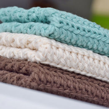 Crochet Dishcloths/ Washcloths -Sea Mist, Cream, and Brown- Handmade Wash Rags - Set of 3 Kitchen Dishcloths - Matching Scrubbies Available!