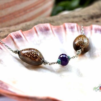 Seashell Anklet made in Hawaii by Mermaid Tears, Hawaiian Jewelry Cowrie Shell Ankle Bracelet