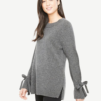 Wool Cashmere Tie Sleeve Sweater | Ann Taylor